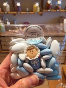 Sachet bleu et blanc naissance